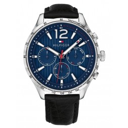 Tommy Hilfiger Gavin Blue Chronograph Dial Black Leather Strap Watch 1791468
