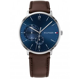 Tommy Hilfiger Brooklyn Blue Dial Brown Leather Strap Watch 1791508