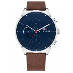 Tommy Hilfiger Chase Blue Chronograph Dial Brown Leather Strap Watch 1791487