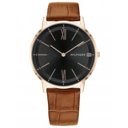 Tommy Hilfiger Cooper Rose Gold Plated Black Dial Light Brown Leather Strap Watch 1791516
