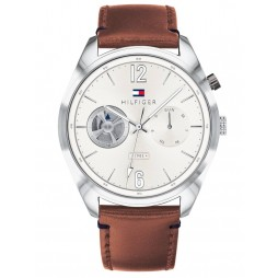 Tommy Hilfiger Deacan Silver Dial Brown Leather Strap Watch 1791550