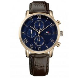Tommy Hilfiger Kane Gold Plated Navy Blue Chronograph Dial Black Leather Strap Watch 1791399