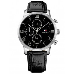 Tommy Hilfiger Kane Stainless Steel Black Chronograph Dial Black Leather Strap Watch 1791401