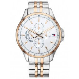 Tommy Hilfiger Shawn Rose Gold Plated Two Tone White Chronograph Dial Bracelet Watch 1791617