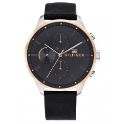 Tommy Hilfiger Chase Rose Gold Plated Two Tone Black Leather Strap Watch 1791488