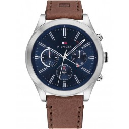 Tommy Hilfiger Ashton Stainless Steel Blue Chronograph Dial Brown Leather Strap Watch 1791741