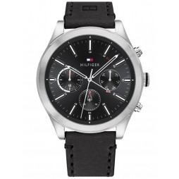 Tommy Hilfiger Ashton Stainless Steel Black Chronograph Dial Leather Strap Watch 1791740