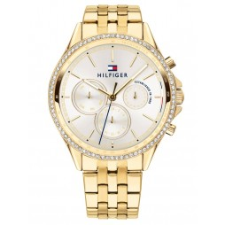 Tommy Hilfiger Ari Gold Plated Cubic Zirconia Set White Chronograph Dial Bracelet Watch 1781977