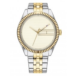 Tommy Hilfiger Lee Stainless Steel Two Tone Plain Champagne Dial Bracelet Watch 1782083