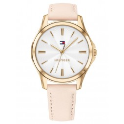 Tommy Hilfiger Lori Gold Plated White Dial Pink Leather Strap Watch 1781954