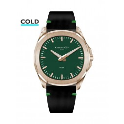KAMAWATCH Royal Rose Gold Plated Green Dial Brown and Camo Leather Suede Strap Watch KWPM35
