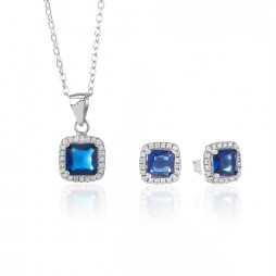 Rosa Lea Silver Blue Cushion Crystal Gift Set 16S44KY2 GWP