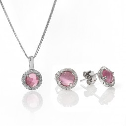 Rosa Lea Silver Round Pink Crystal Gift Set SS52+SS52-P GWP