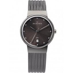 Skagen Grey Steel Mesh Round Grey Dial Watch 355SMM1