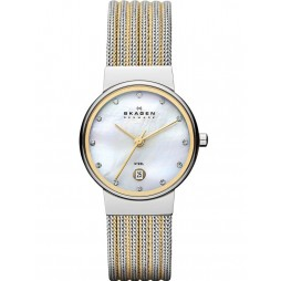 Skagen Ladies Two Tone Mesh Bracelet Watch 355SSGS