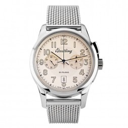 Pre-Owned Breitling Transocean 1915 Limited Edition Silver Bracelet Watch AB141112 G799 154A