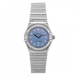 Pre-Owned Omega Constellation My Choice 18ct White Gold Diamond Set Blue Bracelet Watch B511620(444)