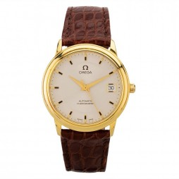 Pre-Owned Omega De Ville 18ct Gold Brown Leather Strap Watch N516961(455)