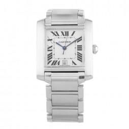 Pre-Owned Cartier Tank Francaise Silver Bracelet Watch W51002Q3