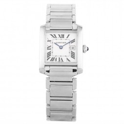 Pre-Owned Cartier Midi Tank Francaise Silver Bracelet Watch 2465