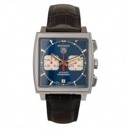Pre-Owned TAG Heuer Monaco Steve McQueen Automatic Blue Leather Strap Watch CW2113-0