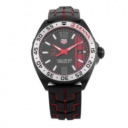 Pre-Owned TAG Heuer Formula 1 Senna Limited Edition Black Rubber Strap Watch WAZ1014.FT8027