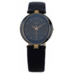 Pre-Owned Rado Florence Black Leather Strap Watch 152.3694.24