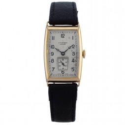 Pre-Owned J.W. Benson London 18ct Gold 1939 Mechanical Black Leather Strap Watch B490191(426)