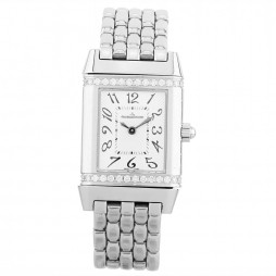 Pre-Owned Jaeger LeCoultre Reverso Diamond Silver Bracelet Watch 265.8.47