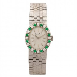 Pre-Owned Bueche Girod White Gold Diamond and Emerald Bracelet Watch A511606(441)