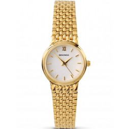 Sekonda Ladies Gold Plated White Dial Watch 4849