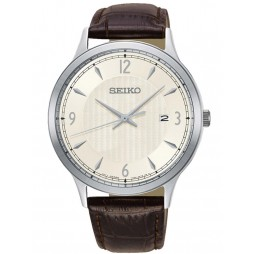 Seiko Mens Leather Strap Watch SGEH83P1