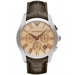 Emporio Armani Gents Stainless Steel Round Amber Chronograph Dial Brown Strap Watch AR1634