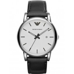 Emporio Armani Gents Stainless Steel White Dial Black Strap Watch AR1694