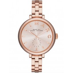 Marc Jacobs Ladies Sally Rose Gold Plated Bracelet Watch MBM3364