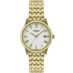 Rotary Mens Gold Plated White Dial Watch GB00794-32