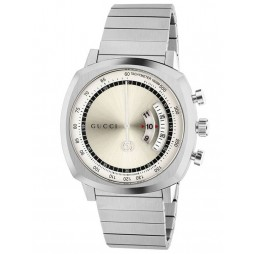 Gucci Grip Stainless Steel Silver Chronograph Dial Bracelet Watch YA157302