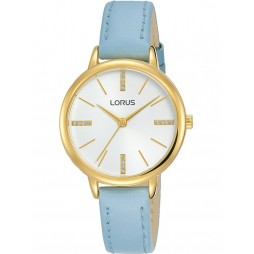 Lorus Ladies White Crystal Dial Blue Leather Strap Watch RG214QX8