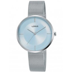 Lorus Ladies Stainless Steel Light Blue Sunray Dial Mesh Strap Watch RG255QX9