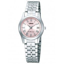 Lorus Ladies Stainless Steel Pink Sunray Dial Bracelet Watch RH731BX9