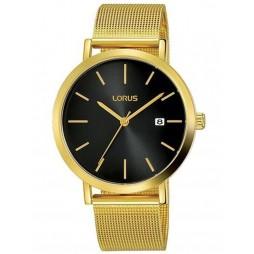 Lorus Mens Black Date Dial Gold Tone Mesh Strap Watch RH942JX9