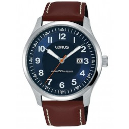 Lorus Mens Blue Sunray Date Dial Brown Leather Strap Watch RH943HX9