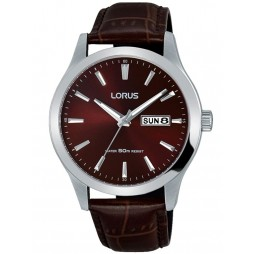 Lorus Mens Brown Date Dial Leather Strap Dress Watch RXN31DX9