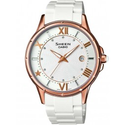 Casio Sheen Rose Gold Plated White Plastic White Dial Watch SHE-4024G-7AEF