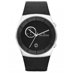 Skagen Mens Klassik Steel Black Strap Watch SKW6070