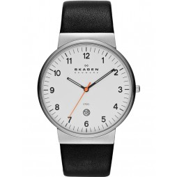 Skagen Mens Steel Black Strap White Dial with Date Watch SKW6024