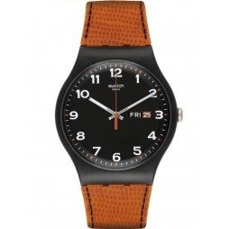 Swatch Unisex Faux Fox Orange/Black Dial Strap Watch SUOB709