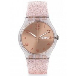 Swatch Ladies Pink Glistar Watch SUOK703