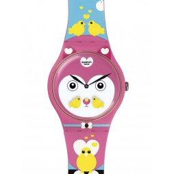 Swatch Ladies Choupinou Pink Strap Watch SUOZ190