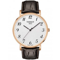 Tissot Mens Everytime Rose Gold Plated Brown Strap White Dial Watch T109.610.36.032.00